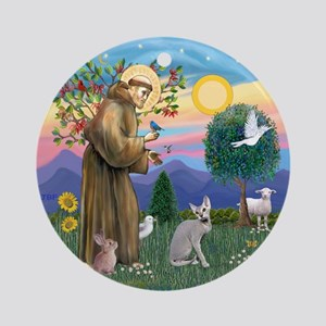 St Francis - Peterbald Cat Ornament (Round)