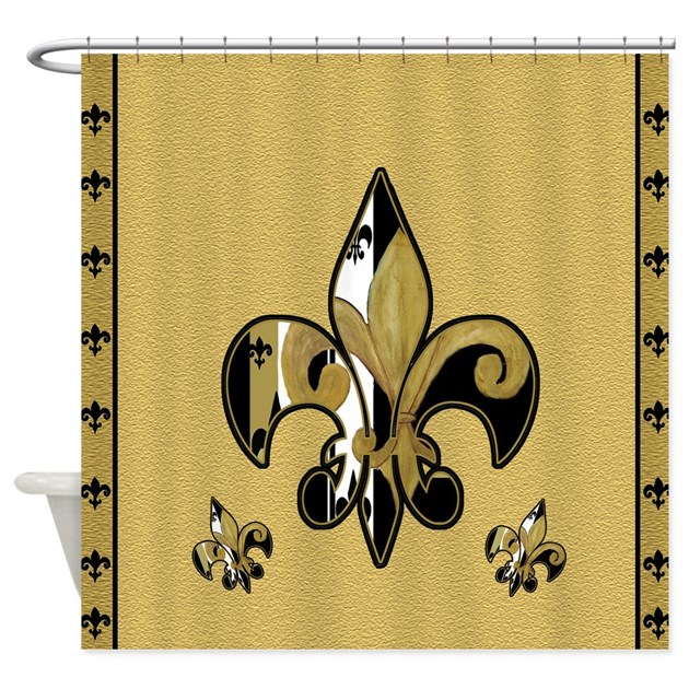 Black And Gold Fleur De Lis Shower Curtain By Bythebeach