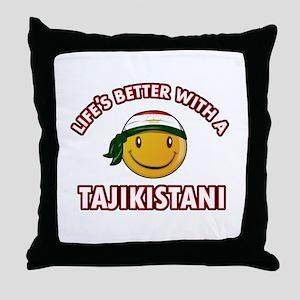Lifes better with a Tajikistani Throw Pillow