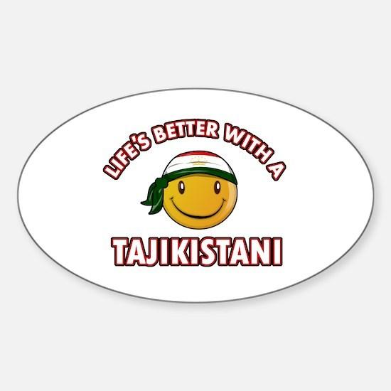 Lifes better with a Tajikistani Sticker (Oval)