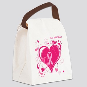 Run With Heart Pink hearts Canvas Lunch Bag