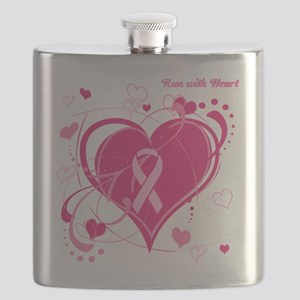 Run With Heart Pink hearts Flask