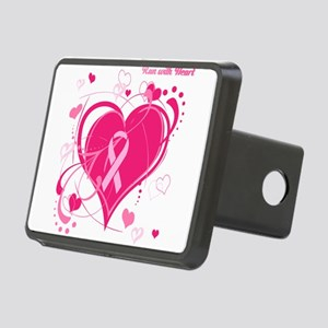 Run With Heart Pink hearts Rectangular Hitch Cover