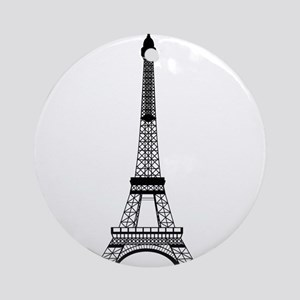 Eiffel Tower Black Ornament (Round)