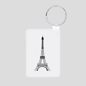 Eiffel Tower Black Aluminum Photo Keychain