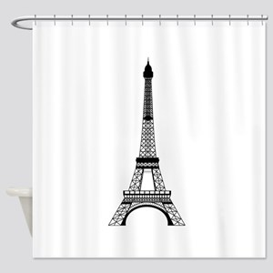 Eiffel Tower Black Shower Curtain