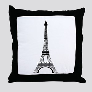 Eiffel Tower Black Throw Pillow