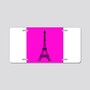 Eiffel Tower Pink and Black Aluminum License Plate
