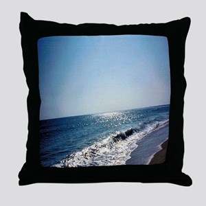 Wave Rolling Onto Beach Throw Pillow