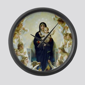 Bouguereau The Virgin With Angels Large Wall Clock