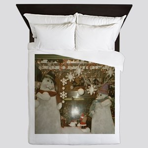 Snow Many Snowmen And Stars Two Queen Duvet