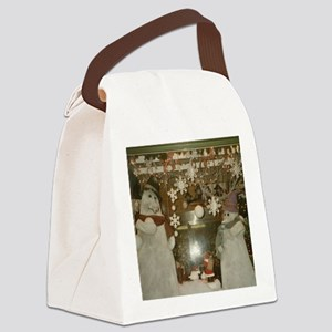 Snow Many Snowmen And Stars Two Canvas Lunch Bag