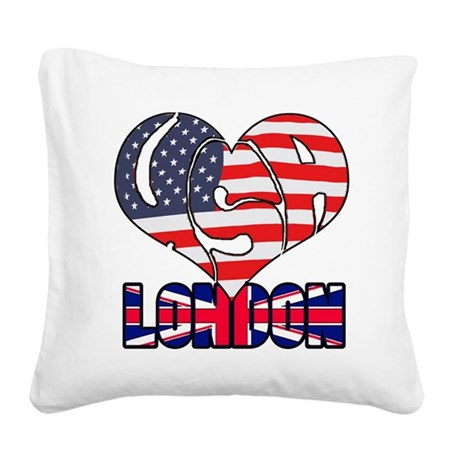 USA goes to London Square Canvas Pillow