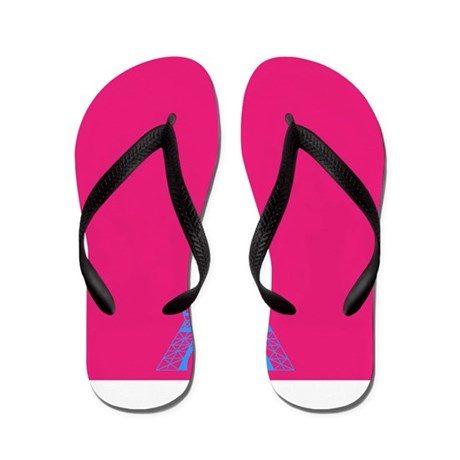 Turquoise Eiffel Tower on Pink Flip Flops