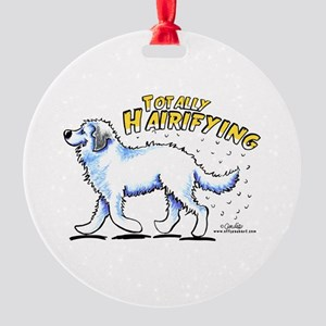 Great Pyrenees Hairifying Round Ornament