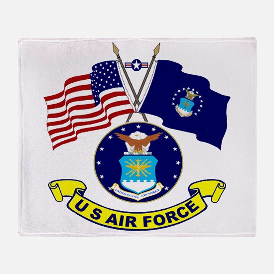 USAF-USA Flags Throw Blanket