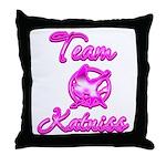 Team Katniss (pink) Throw Pillow