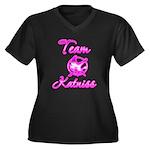Team Katniss (pink) Women's Plus Size V-Neck Dark