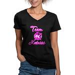 Team Katniss (pink) Women's V-Neck Dark T-Shirt