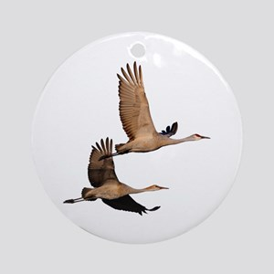 Sandhill Couple in Flight Ornament (Round)