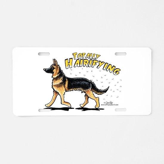 German Shepherd Hairifying Aluminum License Plate