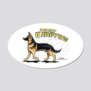 German Shepherd Hairifying 20x12 Oval Wall Decal