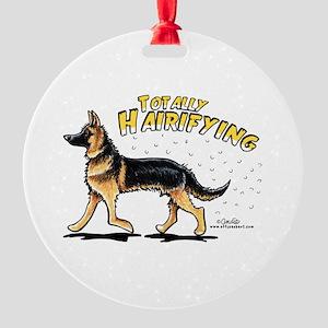 German Shepherd Hairifying Round Ornament