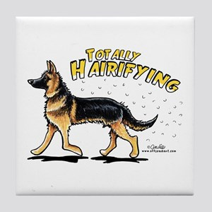 German Shepherd Hairifying Tile Coaster