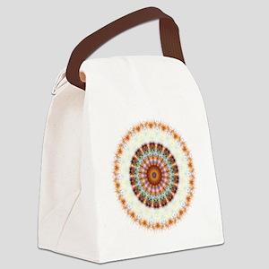 Detailed Orange Earth Mandala Canvas Lunch Bag