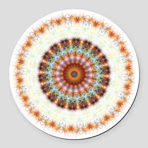 Detailed Orange Earth Mandala Round Car Magnet