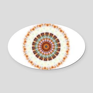 Detailed Orange Earth Mandala Oval Car Magnet