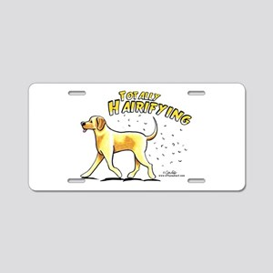 Yellow Lab Hairifying Aluminum License Plate
