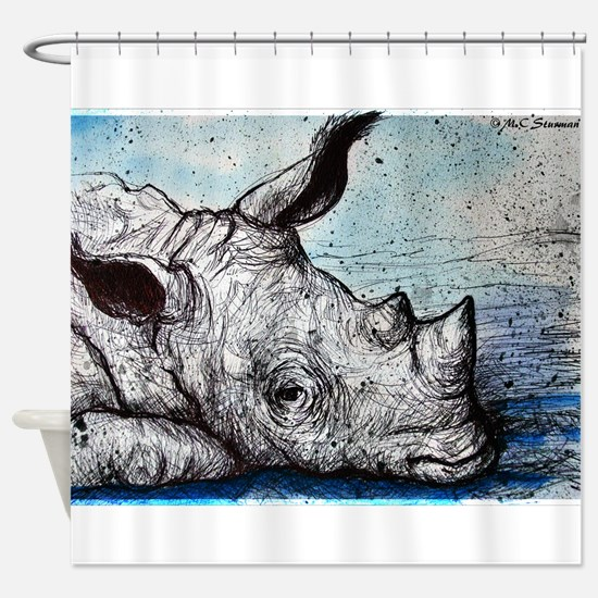 Rhino! Wildlife art! Shower Curtain