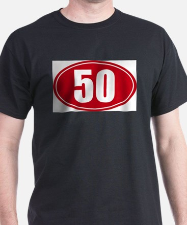 50 miles red oval sticker decal T-Shirt
