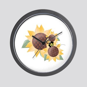 Sunflowers & Bee Wall Clock
