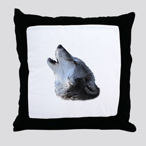 wolf howling Throw Pillow