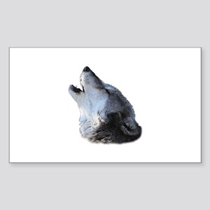 wolf howling Sticker (Rectangle)
