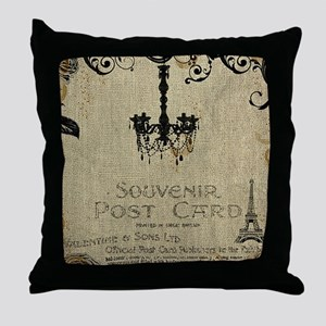 Vintage_Chick Postcard From Paris Throw Pillow