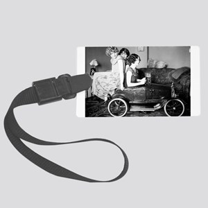 flappers in flivver Large Luggage Tag
