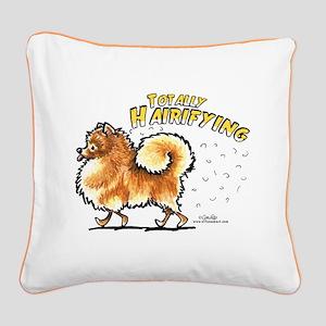 Pomeranian Hairifying Square Canvas Pillow