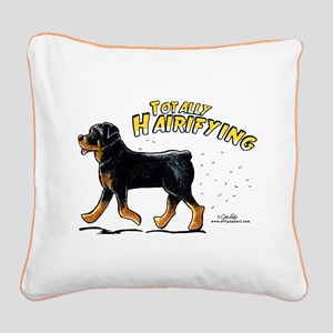 Rottweiler Hairifying Square Canvas Pillow