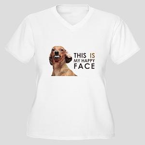 Happy Face Dachshund Women's Plus Size V-Neck T-Sh