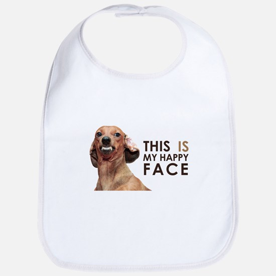 Happy Face Dachshund Bib