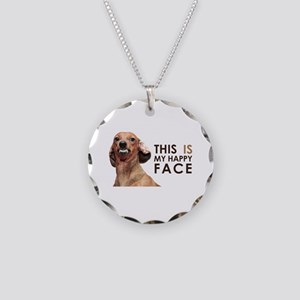 Happy Face Dachshund Necklace Circle Charm