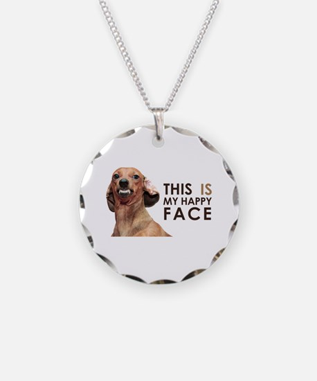 Happy Face Dachshund Necklace
