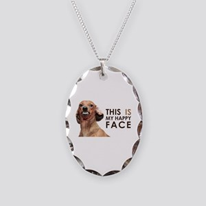 Happy Face Dachshund Necklace Oval Charm