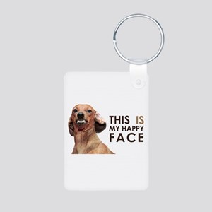 Happy Face Dachshund Aluminum Photo Keychain
