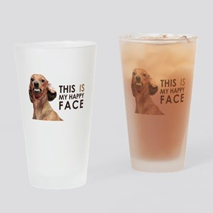 Happy Face Dachshund Drinking Glass