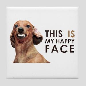 Happy Face Dachshund Tile Coaster