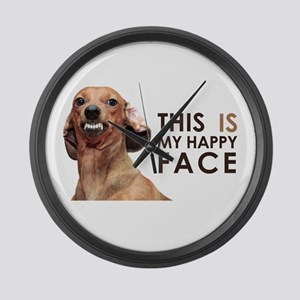 Happy Face Dachshund Large Wall Clock